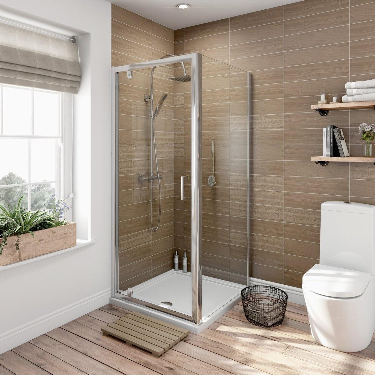 Orchard 6mm pivot door rectangular shower enclosure 900 x 760
