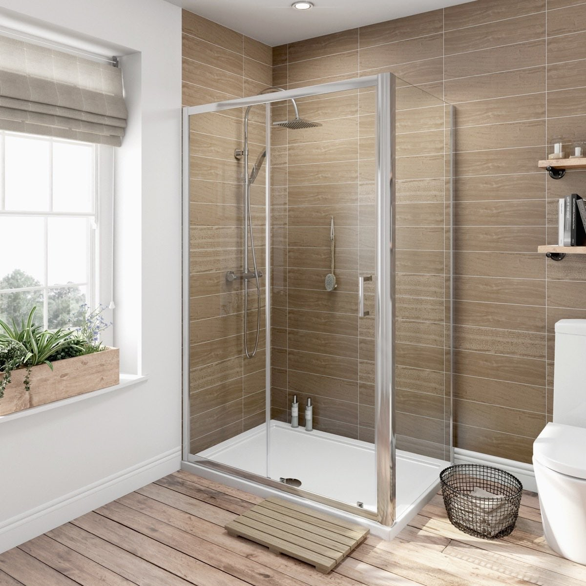 Orchard 6mm sliding door shower enclosure 1000 x 700 offer pack