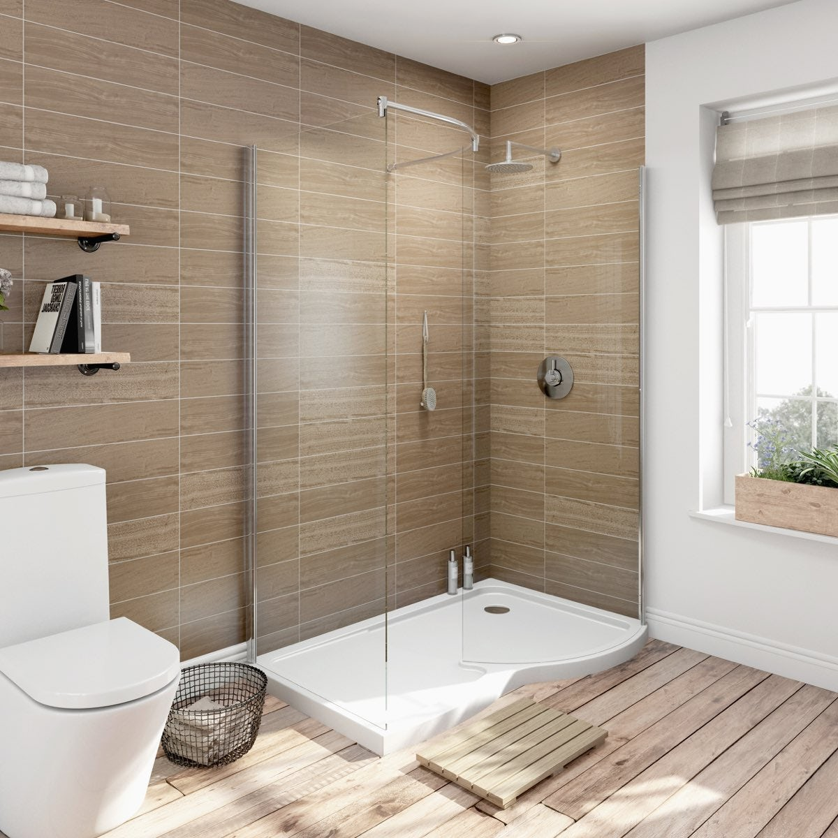 6mm curved rh walk in shower enclosure with tray 1400x900 - Salle de bain beige et taupe ...