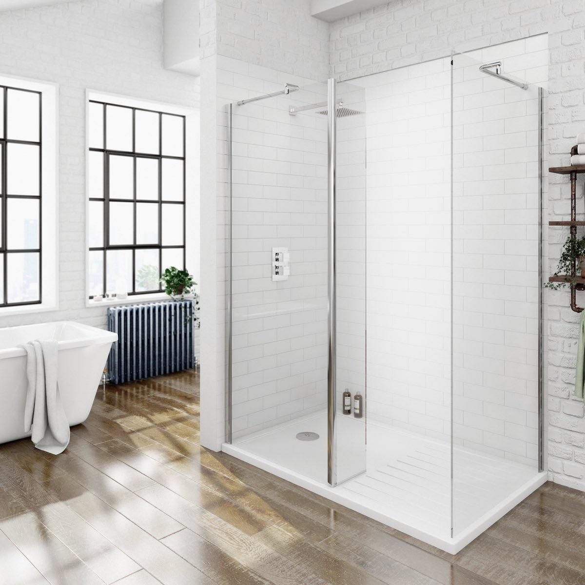 Free delivery V8  Walk in Shower Enclosure Pack 1400 x 900. Mode luxury 8mm walk in enclosure pack with tray 1400 x 900