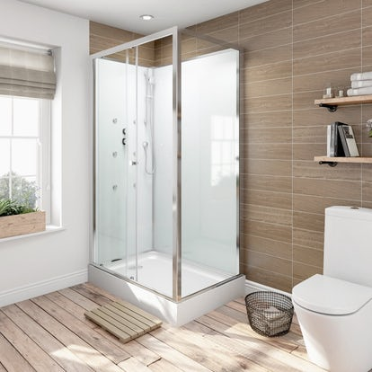 Glass Backed Rectangular Shower Cabin  X