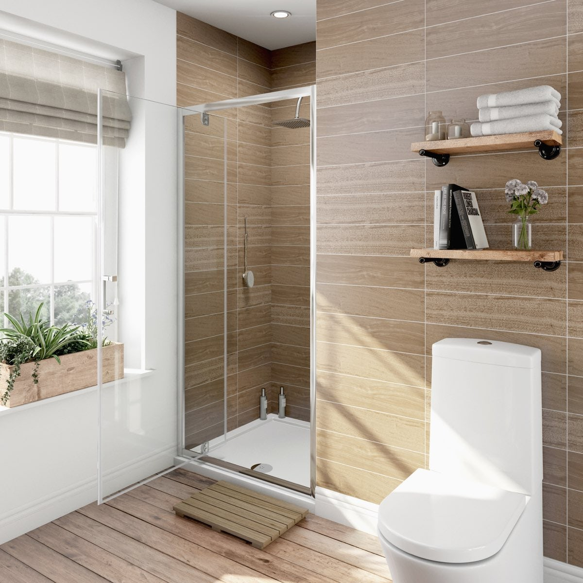 700mm Pivot Shower Door - 6mm Glass - Contemporary - Rectangular