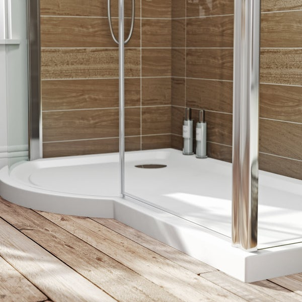 Orchard 6mm right handed P shaped shower enclosure with tray 1500 x ...
