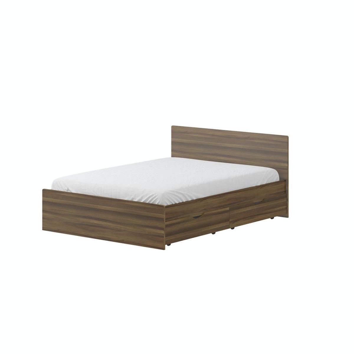 London Walnut 4'6 Bed in Walnut