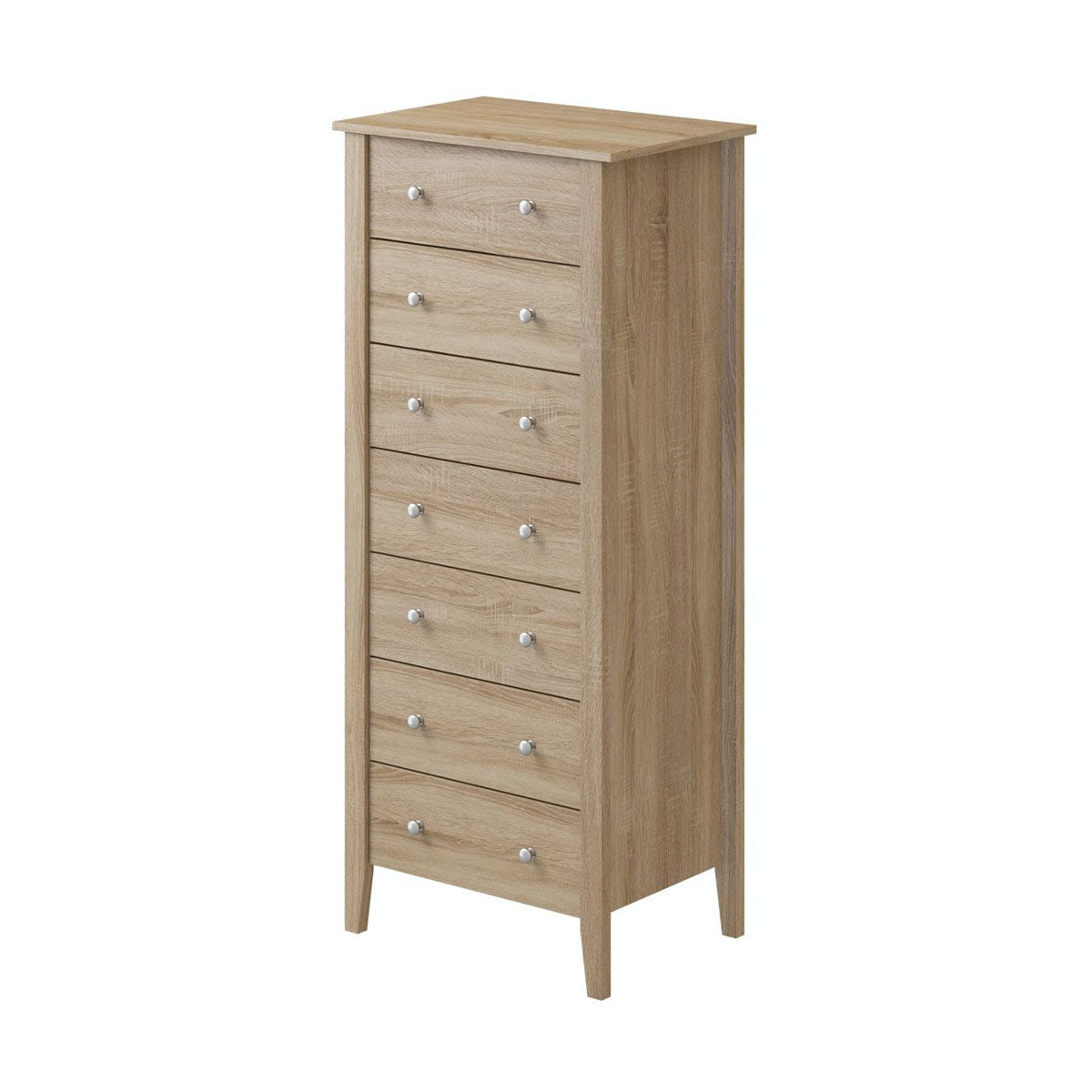 Priced To Clear Sydney Oak 7 Drawer Tall Chest