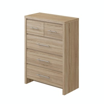 MFI London oak 2 over 3 drawer chest