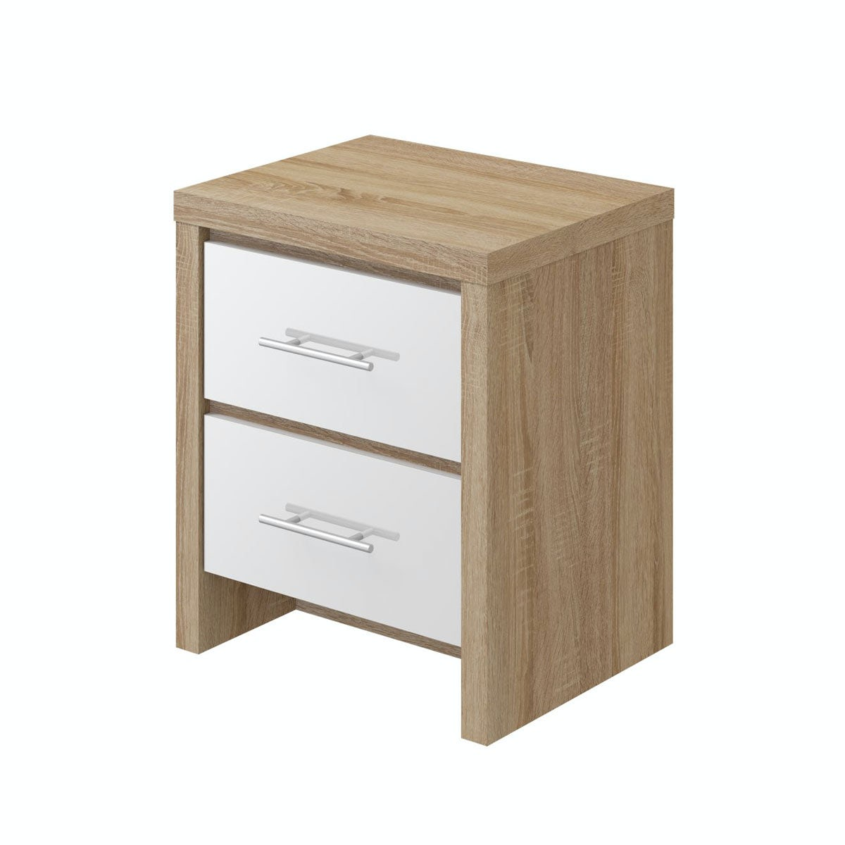 London Oak & White Gloss 2 Drawer bedside Oak/White Gloss