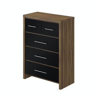 MFI London walnut and black gloss 2 over 3 drawer chest