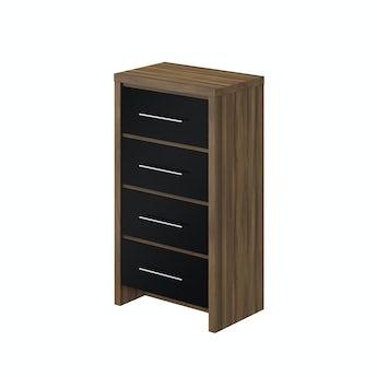 MFI London walnut and black gloss 4 drawer tall chest