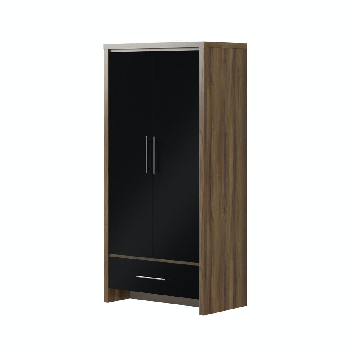 Mfi london walnut and black gloss 2 door 1 drawer for 1 door wardrobe with drawers
