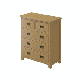 MFI Rome oak 2 over 3 drawer chest