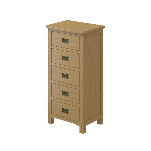 Rome Oak 5 drawer Tall Chest in Oak