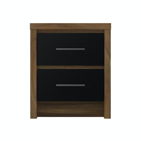 London Walnut & Black Gloss 2 Drawer bedside Walnut/Black Gloss