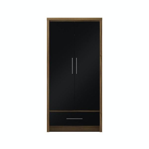 London Walnut & Black Gloss 2 Door, 1 Drawer Gents Wardrobe in Walnut/Black Gloss