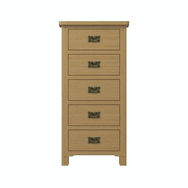 Rome Oak 5 Drawer Tall Chest with Vanity Mirror in Oak