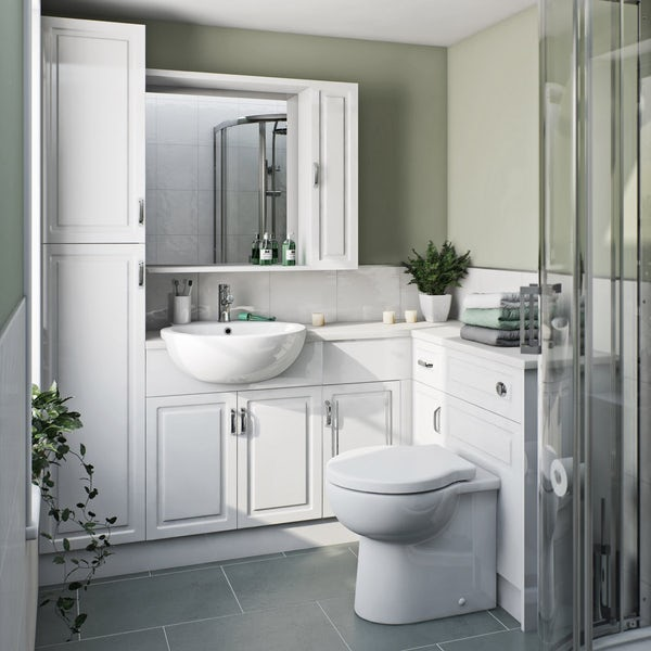Orchard Florence corner ensuite storage unit pack with white top Back to product list Clone product