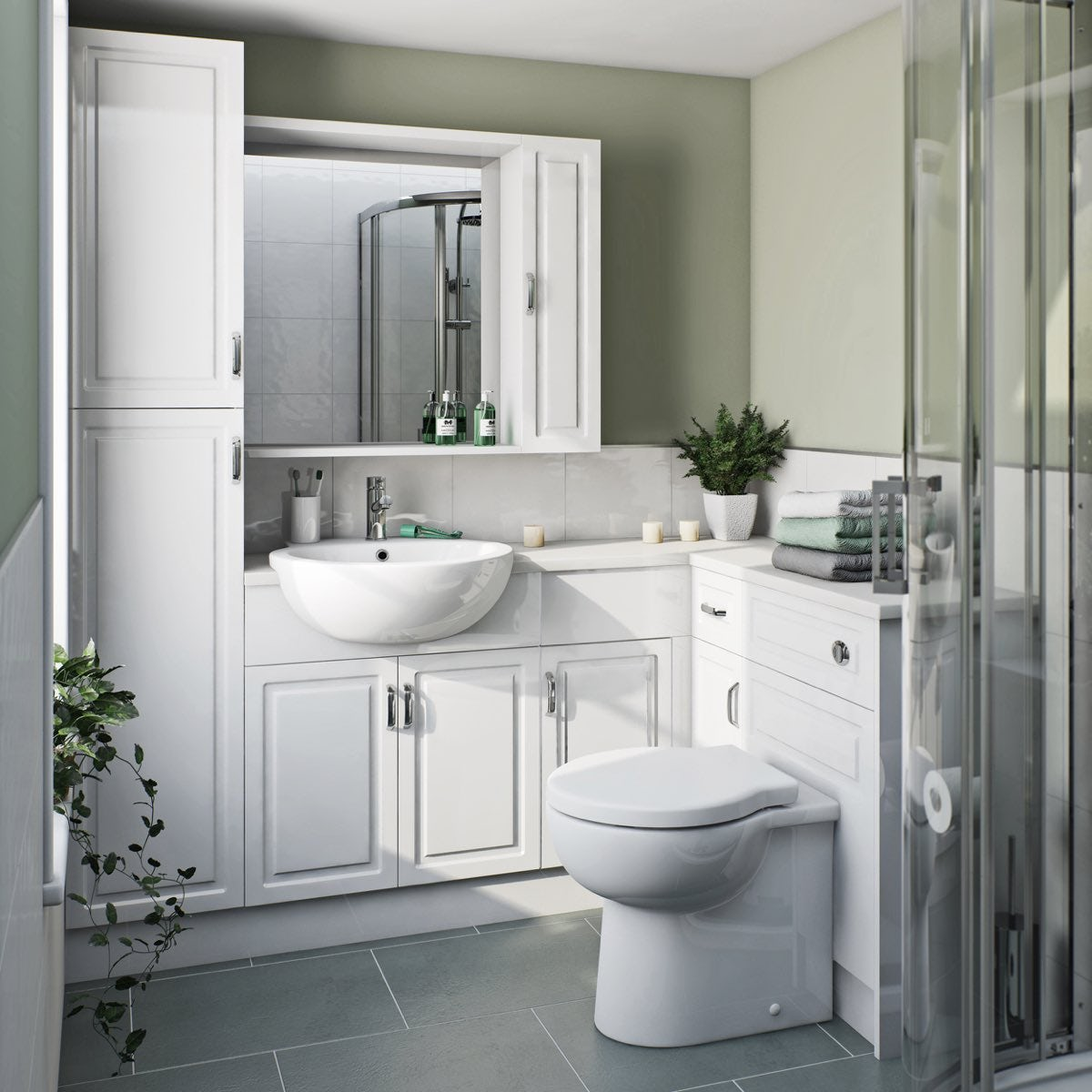 Orchard Florence corner ensuite storage unit pack with white top