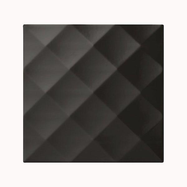 cut out of square black studio conran tile with ridge design