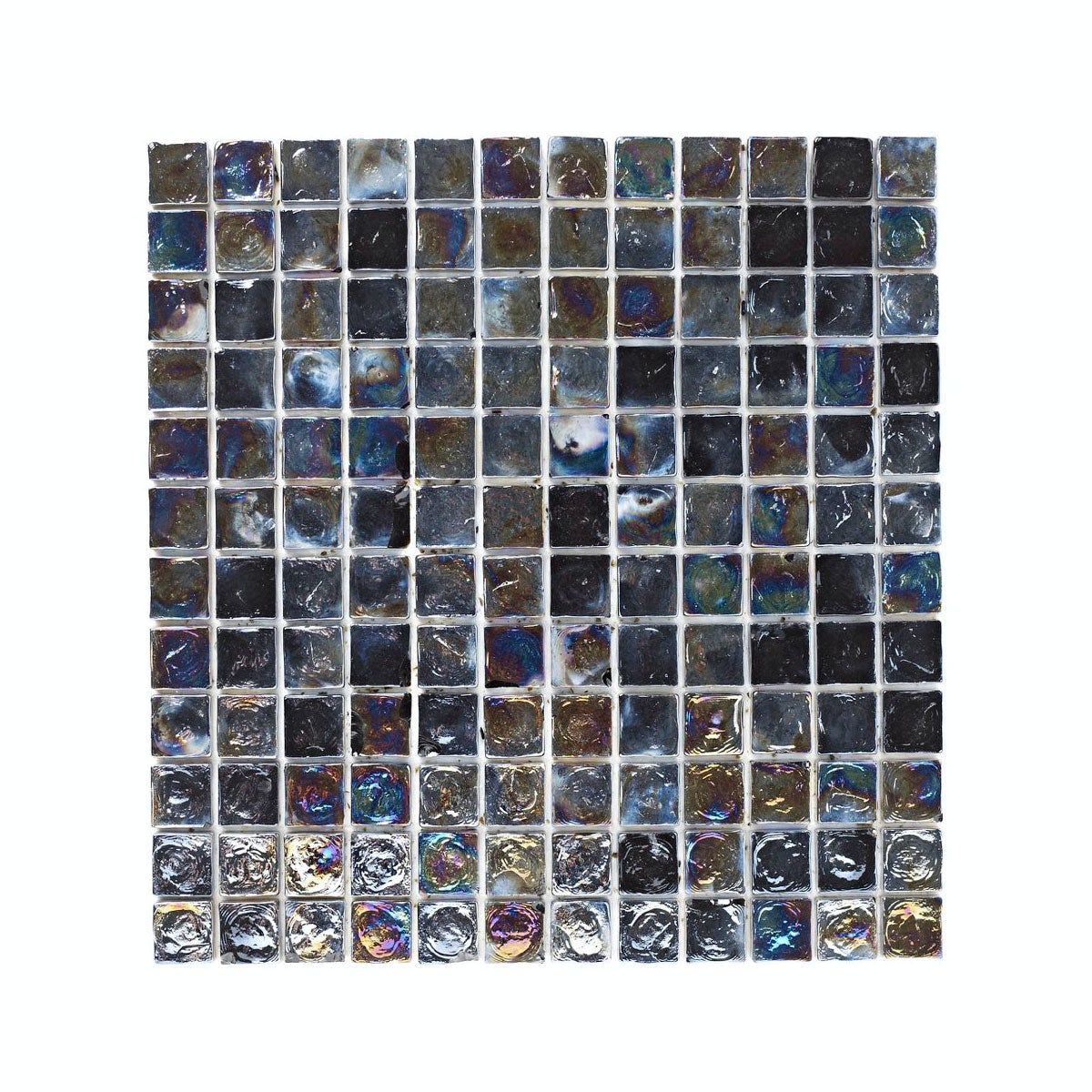 British Ceramic Tile Mosaic iridescent black gloss tile 305mm x 305mm - 1 sheet