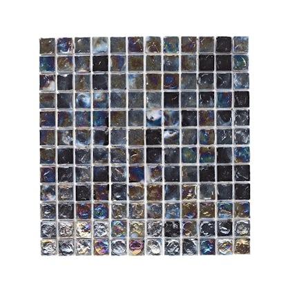 British Ceramic Tile Mosaic iridescent black gloss tile 305mm x 305mm - 1 sheet