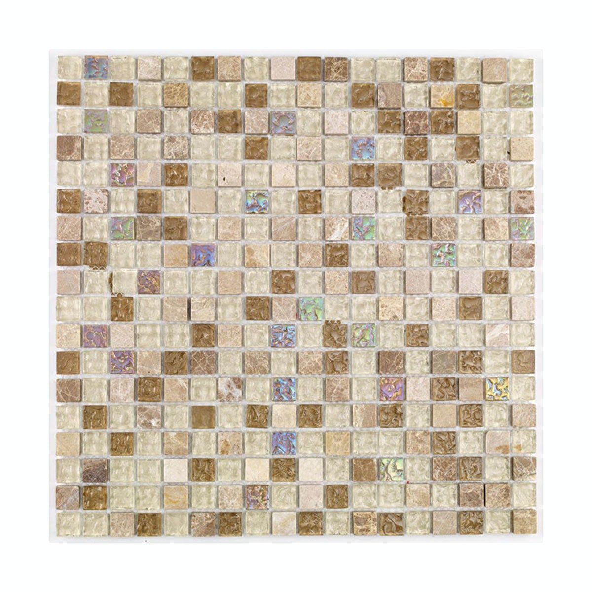 cut out of mosaic tile in shade of beige