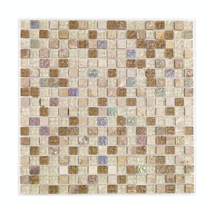 British Ceramic Tile Mosaic freckle beige gloss tile 300mm x 300mm - 1 sheet