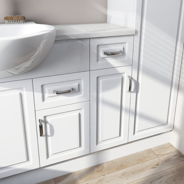 Florence Medium Straight Pack with Storage Unit and White Worktop