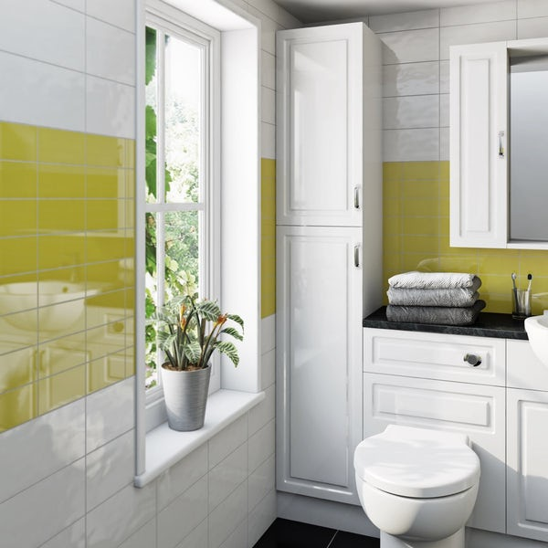 Florence Straight Ensuite Pack with Storage Unit and Beige Worktop