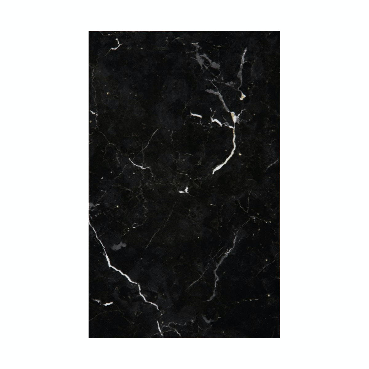 cut out of black gloss tile with marble effect