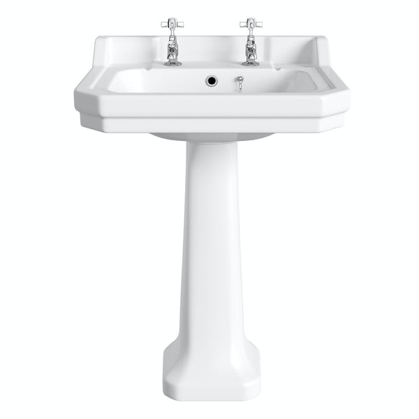 The Bath Co. Camberley 2 tap hole full pedestal basin 560mm