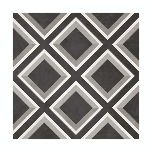 British Ceramic Tile diamond feature black matt tile 331mm x 331mm