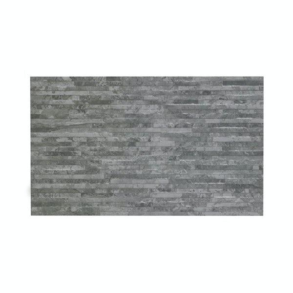 British Ceramic Tile slate light rib structure grey matt  tile 298mm x 498mm