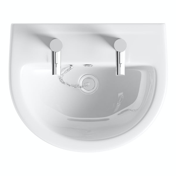 Eden 2 tap hole semi pedestal basin 550mm with waste