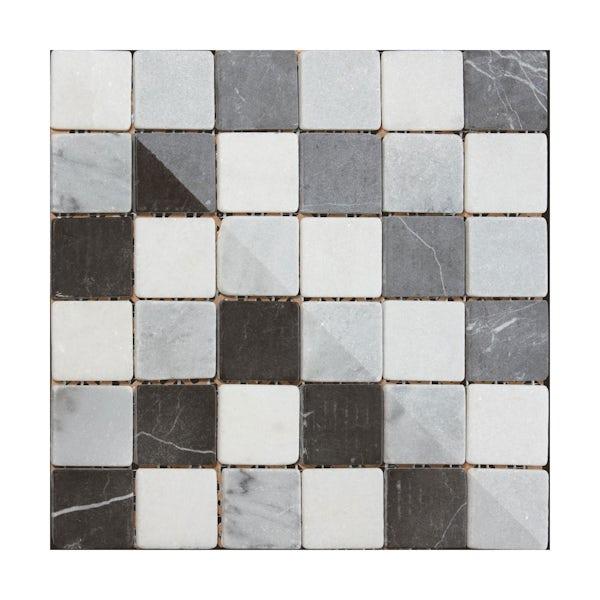 British Ceramic Tile Mosaic pebble grey gloss tile 302mm x 302mm - 1 sheet