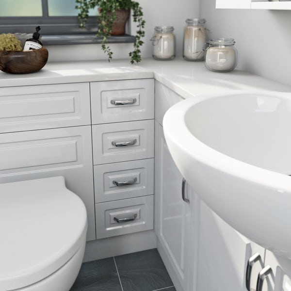 Florence Straight Ensuite Pack with Drawer Unit and Black Worktop