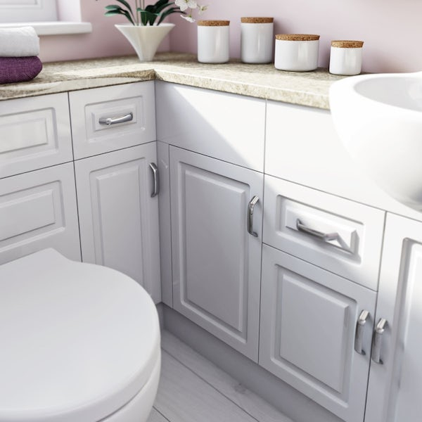 Florence Large Corner Pack with Storage Unit and White Worktop