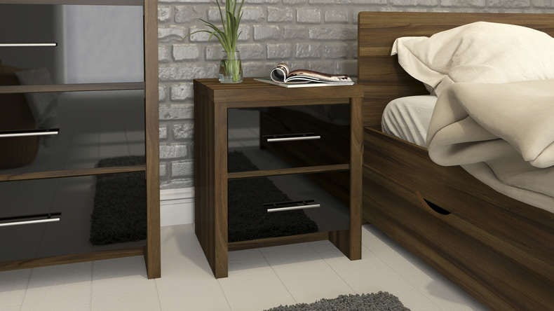 Walnut and black gloss 2 drawer bedside