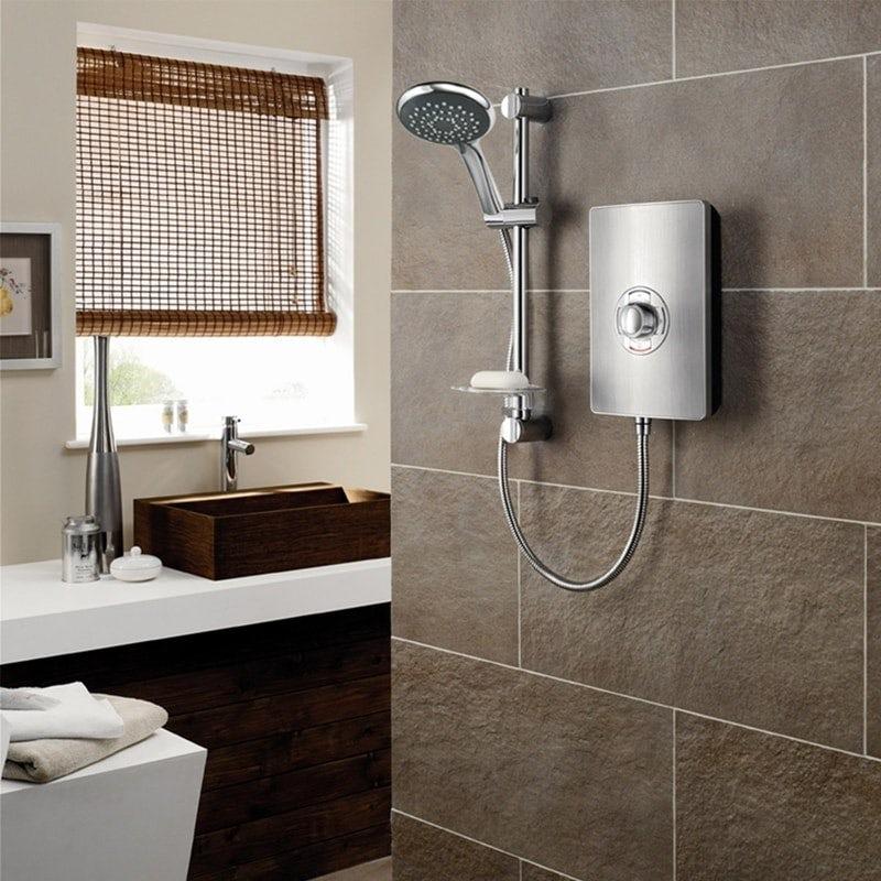 Электрический душ Triton Aspirante 9.5kw из матовой стали