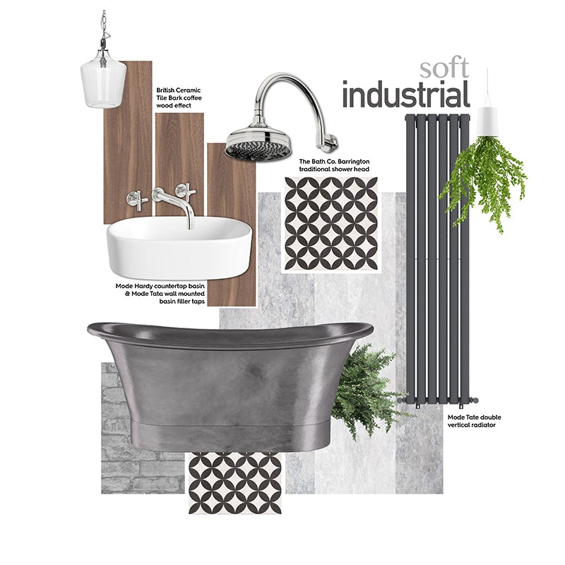 Soft industrial bathroom mood board