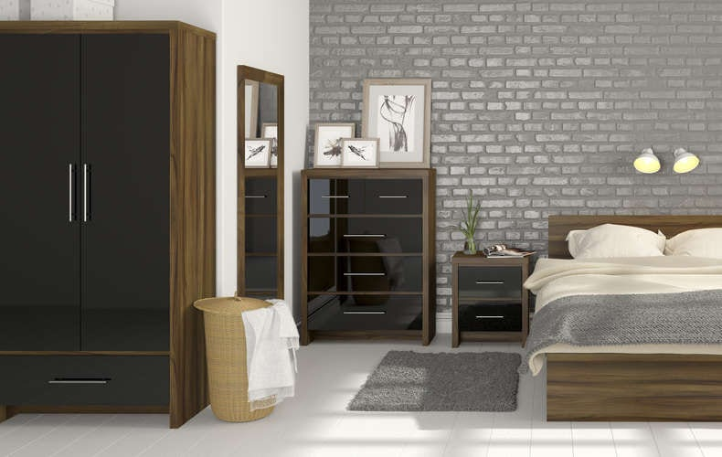 London walnut and black gloss furniture range