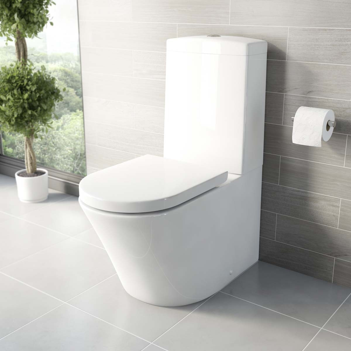 Arte close coupled toilet with luxury soft close toilet seat