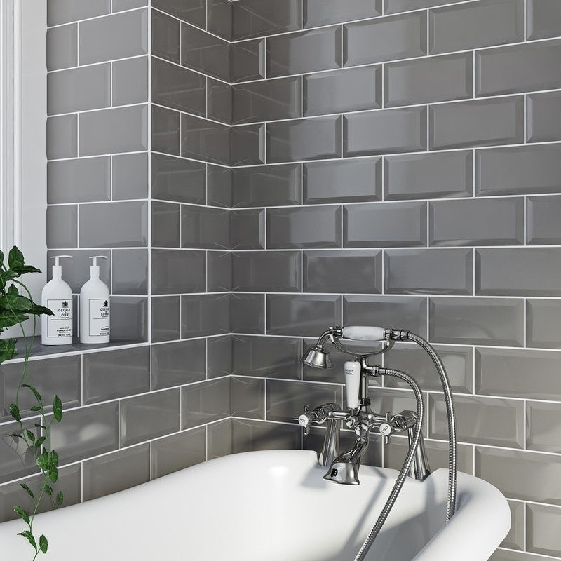 grey bathroom ideas. British Ceramic Tile Metro bevel grey gloss tile 100mm x 200mm Grey Bathroom Ideas  VictoriaPlum com