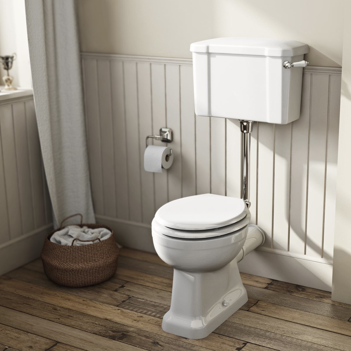 Camberley low level toilet with wooden soft close seat