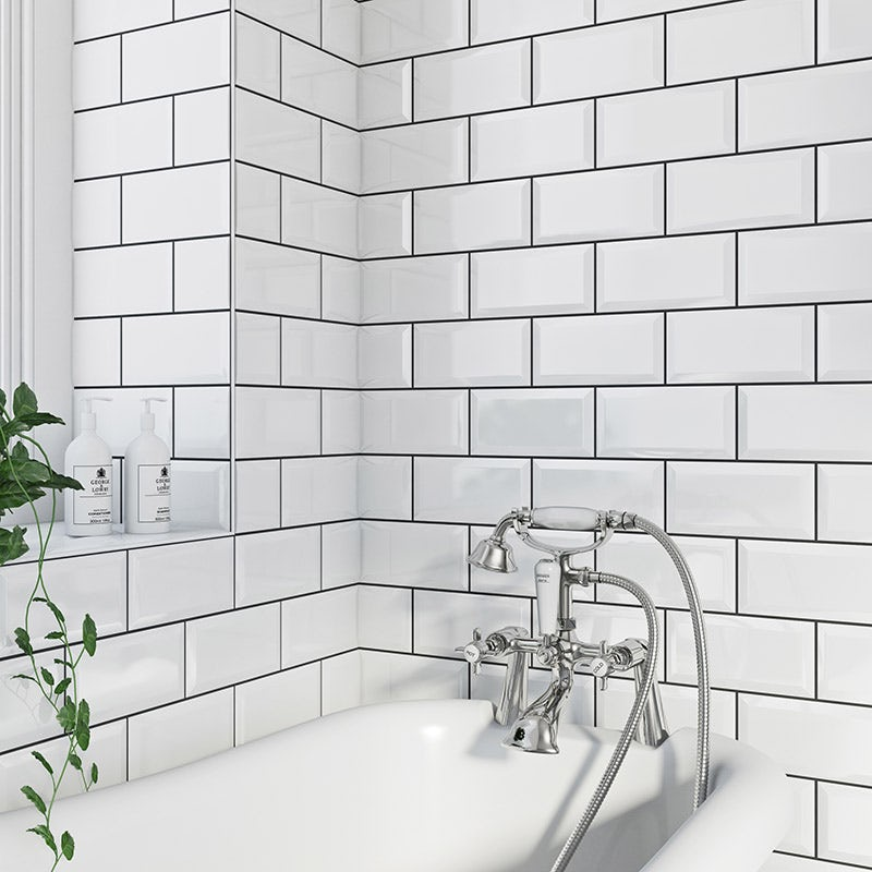 Metro white bevel gloss tile 100mm x 200mm
