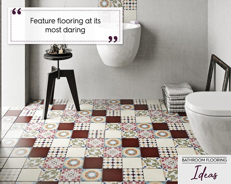 Patchwork bathroom flooring
