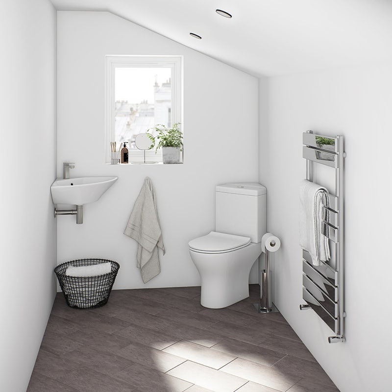 Derwent round compact corner close coupled toilet