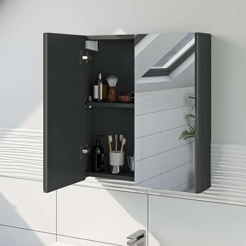 Mode grey curved mirror cabinet 600mm
