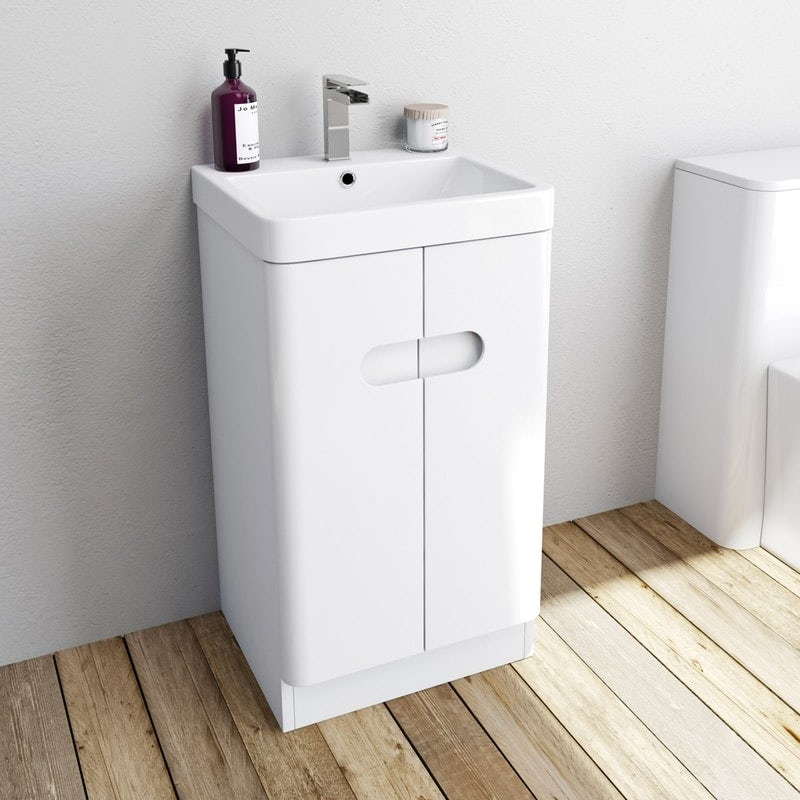 Ellis white compact vanity unit and basin 450mm