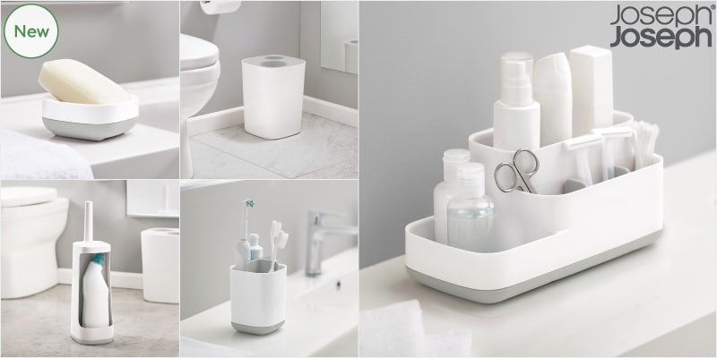 Joseph Joseph slim bathroom accessories