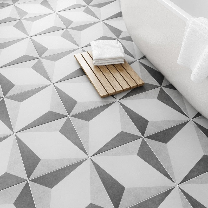 British Ceramic Tile Geometric feature floor tile 331mm x 331mm